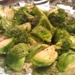 Roasted Brussel Sprouts and Broccoli- The Rising Spoon
