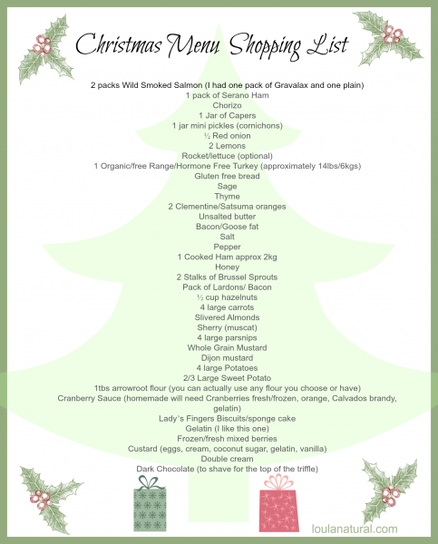 Christmas Menu Shopping List Loula Natural